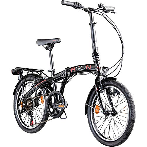 "AGON Parklane 20 Zoll Klapprad Fahrrad Faltrad Klappfahrrad 20"" StVZO 6 Gänge Urban Bike (schwarz/rot, 33 cm)"