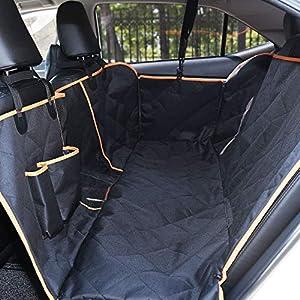 DADYPET Funda para Asiento de Perro Protector Maletero Coche Asiento de Mascotas Segura y Resistente Adecuada para Coches/Camiones/SUV Fácil de Instalar y Limpiar 147 * 135 * 34cm (Negro)