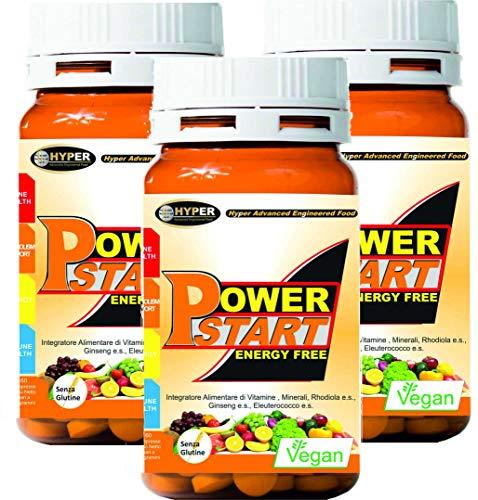 Vitaminas minerales, suplemento multivitamínico multimineral, 3 cajas de 60 cápsulas potenciadas con ginseng, rodiola Eleuterococo, zinc y selenio sistema inunitario, cansancio Fático, Power Start