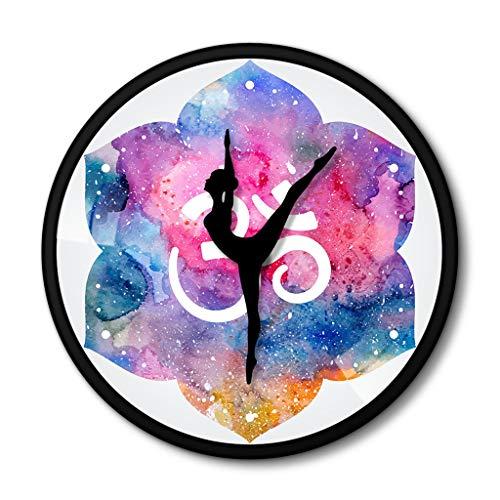 xuyuandass Wanduhren,Uhren,Wecker Yoga-Meditations-Metallrahmen-Yoga-Aquarell-Symbol Buddha Art...