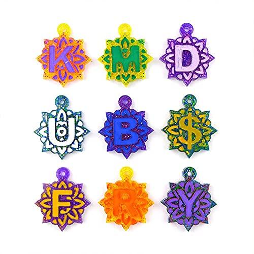 Lettera Stampo in resina 26 Lettera Stampi Keychain Stampo, Keychain resina epossidica stampo frigorifero Magneti per frigorifero Telefono cellulare Gestione Accessori Brooches Pendenti Decorazioni