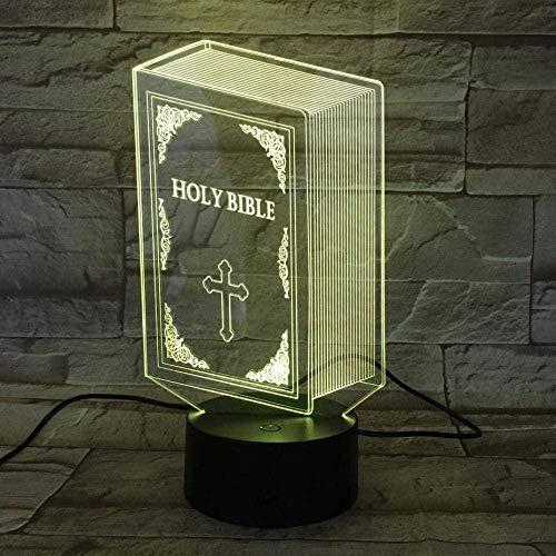 Lámpara de ilusión 3D LED noche luz libro Biblia táctil sensor decoración del hogar dormitorio niños bebé decoración lámpara de mesa regalos para niños