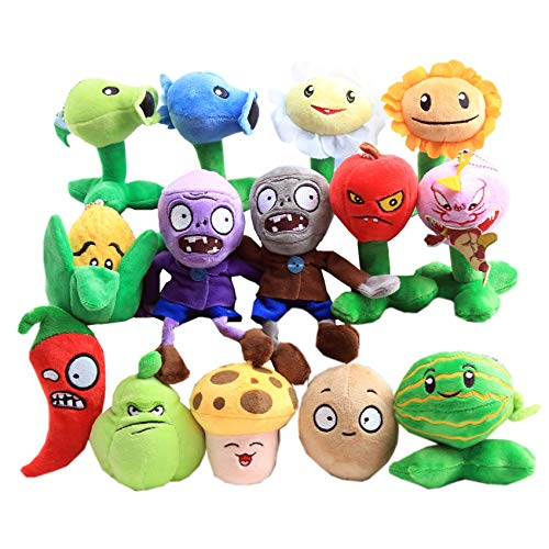 uiuoutoy Plants vs. Zombies Plush Toy Set of 14 Pieces