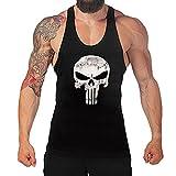 West See Herr Mann Tops Tank Tankshirt Vintage Skull Totenkopf T-Shirt Weste Muscleshirt Print (EU...