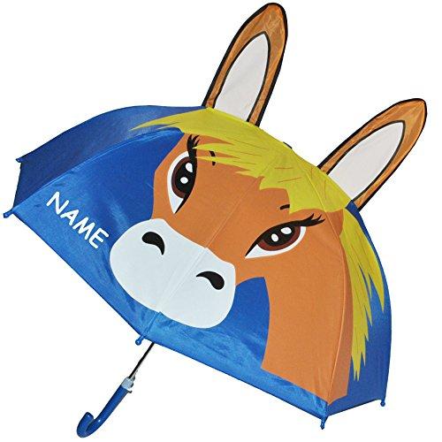 alles-meine.de GmbH 3-D Effekt _ Regenschirm -  Pferd - Fohlen / Tier  - inkl. Name - Kinderschirm Ø 74 cm - Kinder Stockschirm - großer Schirm für Mädchen Jungen - Kinderregen..