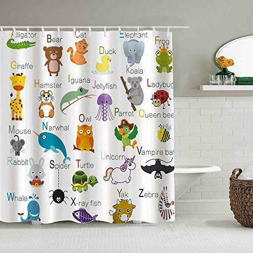 USOPHIA Personalisierter Duschvorhang,ABC Learning Alphabet Kinder Pädagogisch,wasserabweisender Badvorhang für das Badezimmer 180 x 210cm