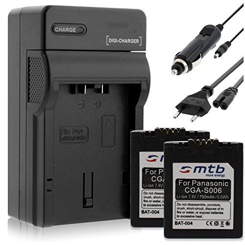 2 Akkus + Ladegerät für für Panasonic CGA-S006 / Lumix DMC-FZ7 FZ8 FZ18 FZ28 FZ30 FZ38 FZ50. / Leica V-LUX 1