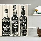 Marutuki Duschvorhang,Whiskey DREI Flaschen Starker Vorschlag Alkohol Essen Trinken Alkohol Vintage Likör Alkohol Alkohol Bourbon Spirit,personalisierte Deko Badezimmer Vorhang,mit Haken,180 * 210