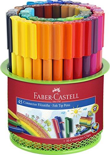 Faber-Castell 155545 Filzstift CONNECTOR, im Köcher, 45-teilig