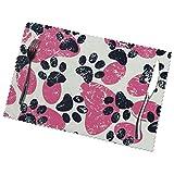 Kazogu Set di 6 tovagliette per gatti e cani, colore nero, rosa, impronte, resistenti e lavabili, 6 pezzi