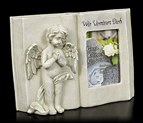 Figuren Shop GmbH Grab-Bilderrahmen Engel - Wir Vermissen Dich | Grabdeko, handbemalt, H 19,5 cm