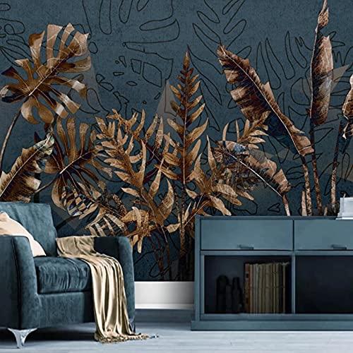 Foto pintura de pared 3d abstracto retro planta tropical hoja arte mural dormitorio sala de estar sofá decoración para el hogar papel-200x140cm