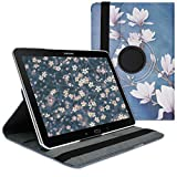 kwmobile 360° Case Compatible with Samsung Galaxy Note 10.1 2014 Edition - Case PU Leather Tablet Cover with Stand - Magnolias Taupe/White/Blue Grey
