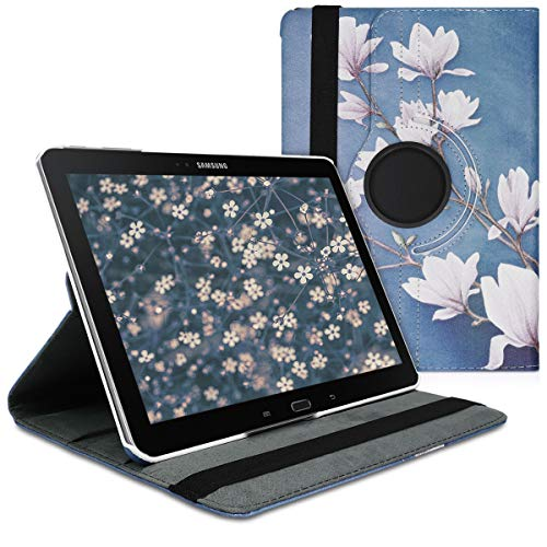 kwmobile Hülle kompatibel mit Samsung Galaxy Note 10.1 2014 Edition - 360° Tablet Schutzhülle Cover Case - Magnolien Taupe Weiß Blaugrau
