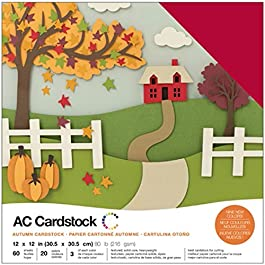 American Crafts Variety Pack Autumn 60 Sheets of 12 x 12 Inch Cardstock, Assorted