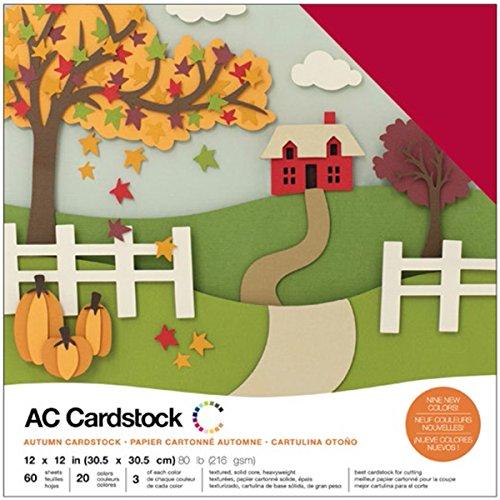 American Crafts cartulina 376987Variety Pack Otoño 60Hojas de cartulina 12x 12'