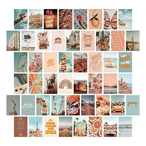 PROCIDA Aesthetic Wall Collage Kit Room Decor for Teen Girls, 50 Set 4x6 inch Boho Peach Orange Summer Beach Photo Collection Posters for Dorm Bedroom Apartment Wall Art Decor