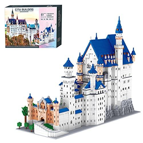 Achko Schloss Neuschwanstein Modular Haus Bausteine, Prinzessin Schloss, Mini-Steine Modulares Gebäude, Architektur Modell Bauset Nicht kompatibel mit Lego - 11810 Teile