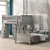 Bunk Beds for Kids, Twin Over Twin Bunk Bed, Twin Size Bed Frame with 4 Storage Drawers and Shelves, Safety Rail, Ladder and Desk (Light Gray)