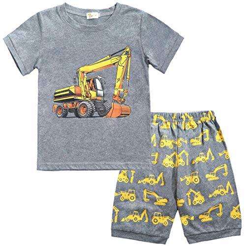 EULLA Kinder Jungen Schlafanzüge Kurzarm Bagger Baumwolle Nachtwäsche, 3-bagger, 98(Herstellergröße:110)