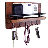 Ripple Creek Key Holder and Mail Shelf - Decorative Wooden Wall Organizer for Keys, Letters, Bills - Pine Wood Unique Rustic and Industrial Decor - Perfect for Entryway, Kitchen, Mudroom - 11.75'x7'
