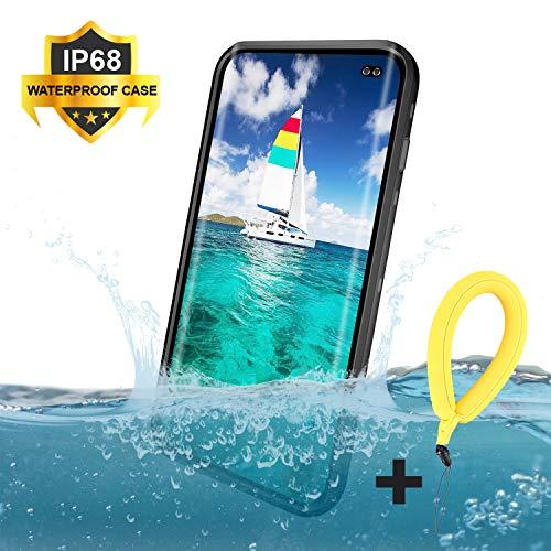 Mijobs Funda Impermeable Galaxy S10+ Plus,[Anti-rasguños][Protección de 360 Grados],Case Protectora con Protector de Pantalla Incorporado Reemplazo For Samsung S10 Plus Case 6.4 Inch 2019(Black/Clear)