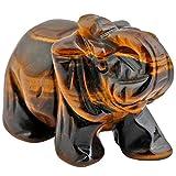 mookaitedecor Elefantenfigur, heilender Kristall, Energie-Edelstein, Reiki-Statue, Heimdekoration, 3,8 cm, Stein, Tiger's Eys Stone