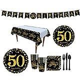 Holibanna Set di stoviglie nero dorato di buon compleanno per feste 50th Banner Paper Plat...