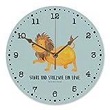 Mr. & Mrs. Panda Kinderzimmer, Wanddeko, 30 cm Wanduhr Sternzeichen Löwe mit Spruch - Farbe Türkis Pastell