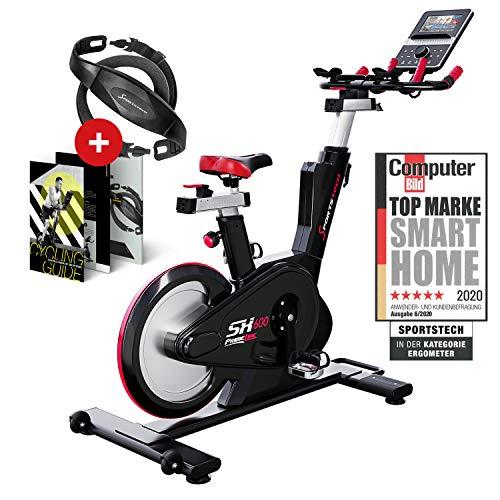 Sportstech SX600 vélo Appartement + Console Intelligente Android, système de freinage magnétique,Volant avec Un Poids de 26KG, Guidon Vitesse aéro 3-1,résistance contrôlée par Ordinateur + Ebook