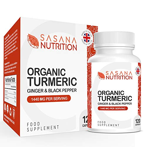 Sasana Nutrition Organic Turmeric Capsules 1440mg - 120 Ginger, Turmeric and Black Pepper Capsules - Turmeric Supplements with Black Pepper and Ginger Manufactured in The UK