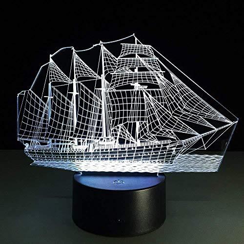 3D LED Nachtlicht Retro Ancient Sailing Sea Boat Schiffslampe 7 Farben Ändern Illusion USB Tisch Schreibtisch Dekor Beleuchtung