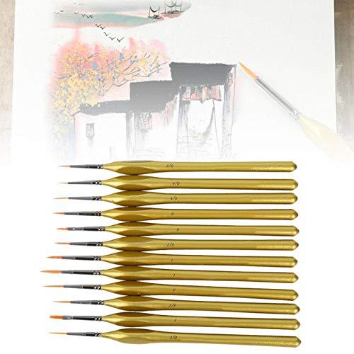 Pinceles de arte para detalles, 12 pinceles triangulares de madera con mango de nailon dorado, para acrílico, acuarela, óleo, modelos
