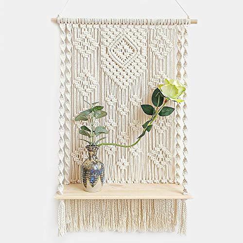 DFVEY Handmade Macrame Wall Hanging Shelf Boho Indoor Rope Plant Hanger Holder Rope Plant Hanger