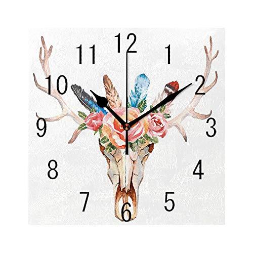 GULTMEE Square Wall Clock Home Decorative Clocks,Antler, Bohemian Deer