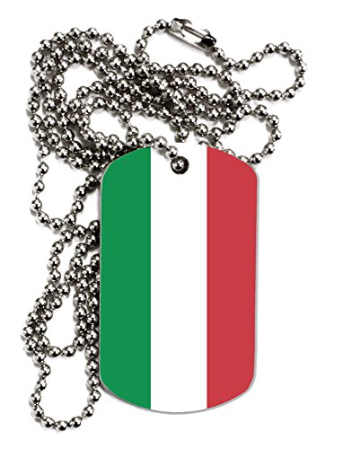 TOOLOUD Italian Flag All Over Adult Dog Tag Chain Necklace