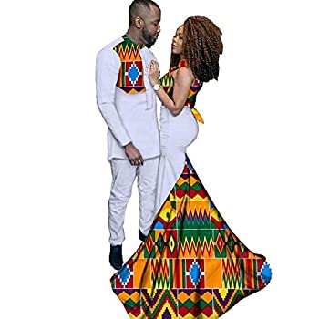 XIAOHUAGUA African Couple Wedding Dresses Mens Long Shirts Suit Womens Stand Collar Maxi Skirts White