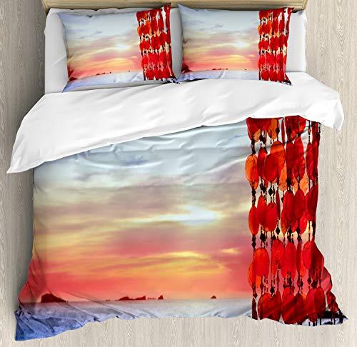 ABAKUHAUS Playa Funda Nórdica, Atrapasueños Ibiza Sunset, 2 Fundas para Almohada Set Decorativo de 3 Piezas, 264 X 220 cm, Coral Azul Rojo