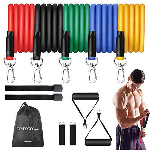 DMYCO Resistance Bands Set - Stackable Exercise Bands Up to 150 Lbs with 2 Door Anchor, Handles, Waterproof Carry Bag and Legs Ankle Straps for Resistance Training, Physical Therapy, Home Workouts