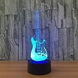 Luz nocturna luz 3D creativa modelo de guitarra eléctrica ilusión luz 3D LED 7 cambio de color sensor táctil USB lámpara de mesa luz nocturna luz estéreo