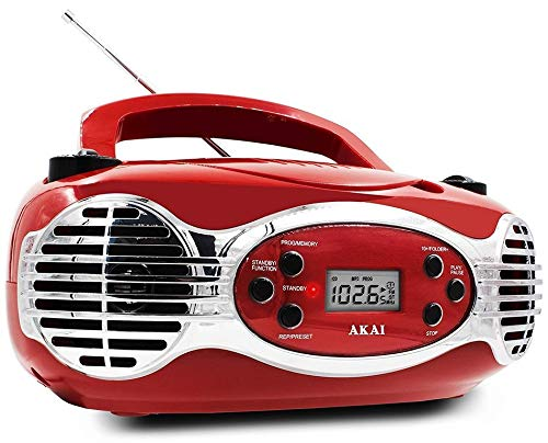 CD/CDR Line in function AUX Portable Boombox Retro Style Limited Edition FM PLL Radio with LCD Display Akai CE2200R - Red