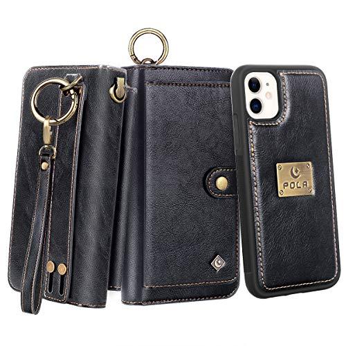 Petocase Compatible iPhone 11 Wallet Case, Multi-Function Zipper Purse with Detachable Magnetic Back Cover Wristlets 13 Card Slots & 4 Cash Pocket for Apple iPhone 11 2019 Black