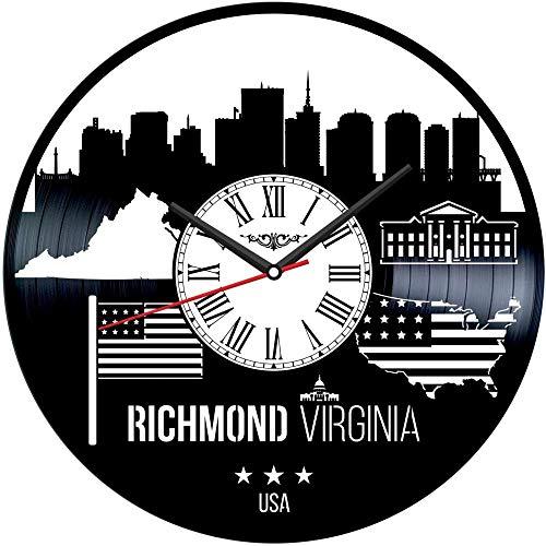 TJIAXU Reloj de Pared con Disco de Vinilo de Virginia, decoración única para el hogar, Regalo Hecho a Mano para Hombres, Mujeres, Amigos, niños