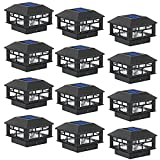 POWGDLT Solar Post Cap Lights Outdoor 10 Lumen Double LED Fence Post Solar Powered Waterproof Light-One-Fits-All Base for 4x4 or 5x5 Wood Posts in Patio, Deck or Garden Decoration, 12 Pack (Black)