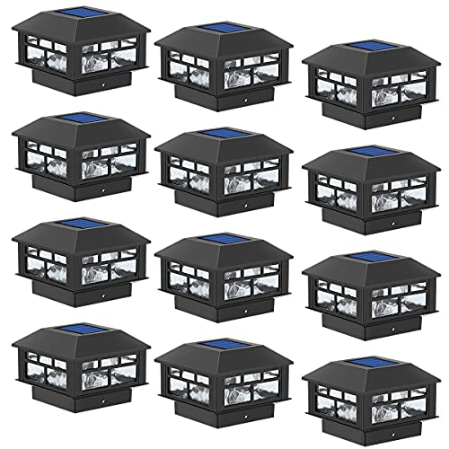 POWGDLT Solar Post Cap Lights Outdoor, Double LED Waterproof LED Fence Post Solar Lights, for 3.5x3.5/4x4/5x5 Wood Posts in Patio Yard Landscape Decoration, Deck or Garden Decoration 12Pack