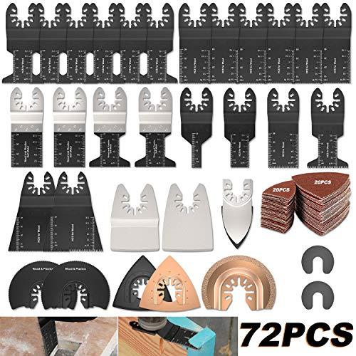 72 tlg Oszillierendes Sägeblätter Kit,Sägeblätter Kit Mix Oszillierende Klingen Multi-Tool Zubehör für Holz für Fein Multimaster Dremel Dewalt Makita Einhell