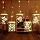 sfesnid 5 in 1 3D Lichtervorhang LED Lichterkette 1.5 Meter 5 Lichter LED USB Fenstervorhang Lichter 8 Modi Dekoration für Weihnachten Deko Party Festen Warmweiß