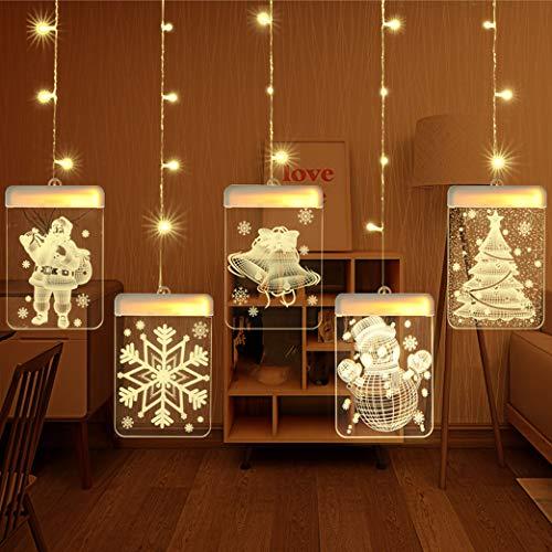 sfesnid Cadena Cortina de Luces LED 3D, USB Tira Luminosa con 5 Placas con Patrones Navidad, Decoración Interior y Exterior