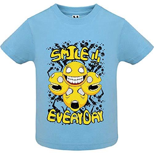 LookMyKase T-Shirt - Smile Everyday - Bébé Garçon - Bleu - 18mois