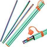 Package includes: 1 pair of stainless steel chopsticks, 1 pieces stainless steel straw and a straw brush, also comes with an aluminium carrying case Dishwasher and reusable: colored by electroplated technology, no color fading after washing; Stainles...